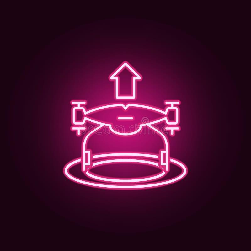 het pictogram van hommelstijgingen Elementen van Hommels in de pictogrammen van de neonstijl Eenvoudig pictogram voor websites, W stock illustratie