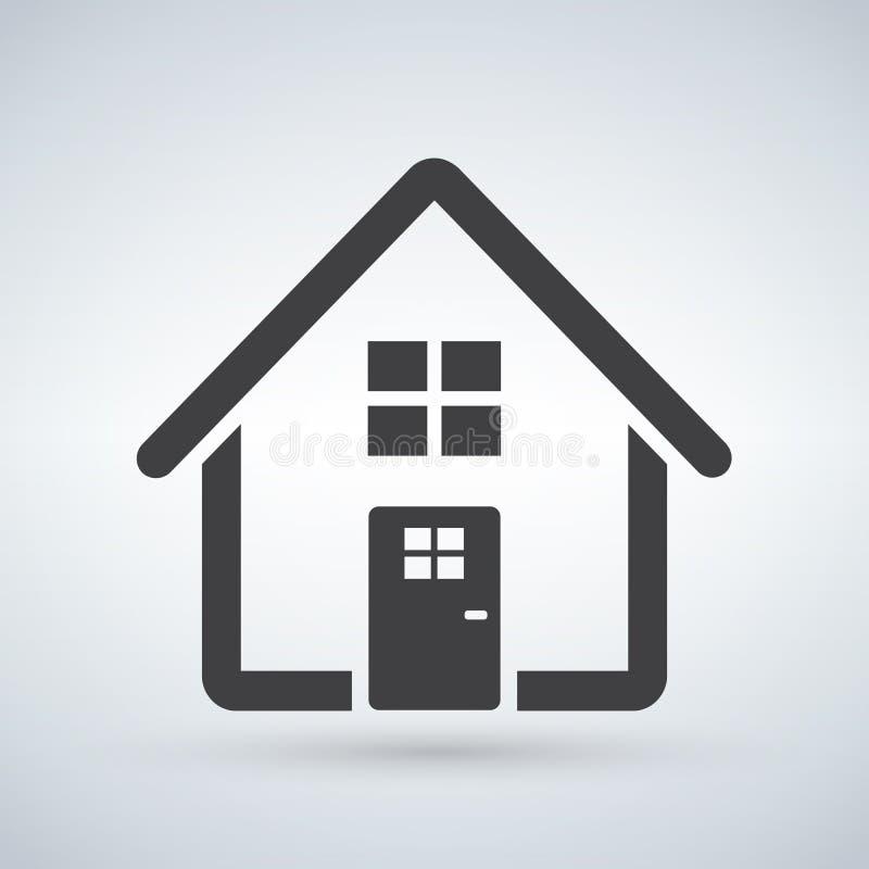 Het pictogram van het huis Huis Ga, stem in met concept in De bouwteken op witte achtergrond wordt geïsoleerd die In Vlakke stijl vector illustratie