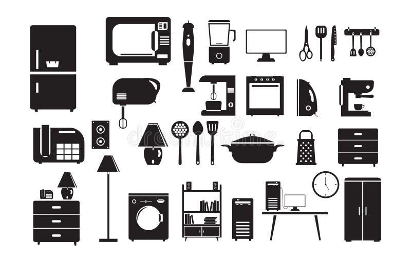 Het pictogram van het huishoudenmateriaal in vlakke stijl wordt geplaatst die royalty-vrije stock fotografie
