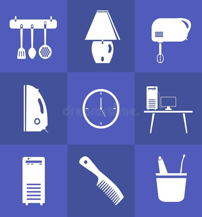 Het pictogram van het huishoudenmateriaal in vlakke stijl wordt geplaatst die stock foto