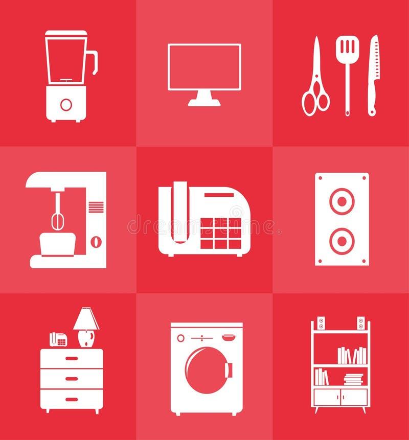 Het pictogram van het huishoudenmateriaal in vlakke stijl wordt geplaatst die stock foto's