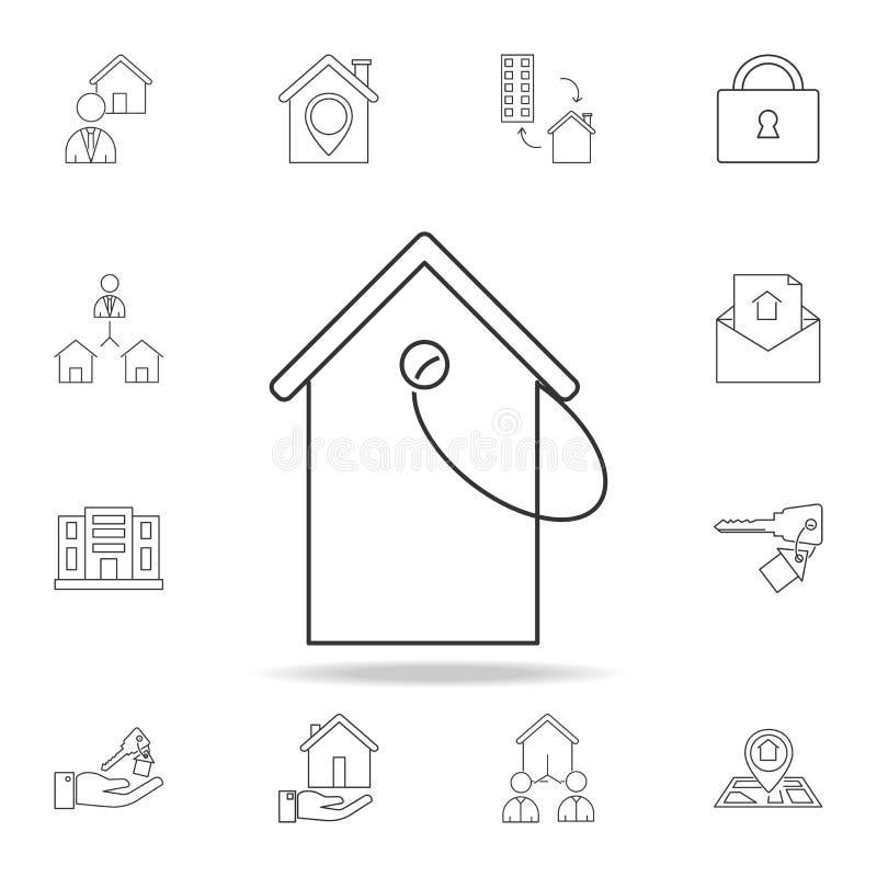 Het pictogram van het huisprijskaartje Reeks het elementenpictogrammen van verkooponroerende goederen Het grafische ontwerp van d royalty-vrije illustratie