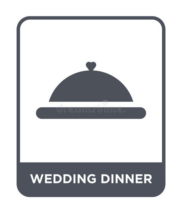 het pictogram van het huwelijksdiner in in ontwerpstijl het pictogram van het huwelijksdiner op witte achtergrond wordt geïsoleer vector illustratie