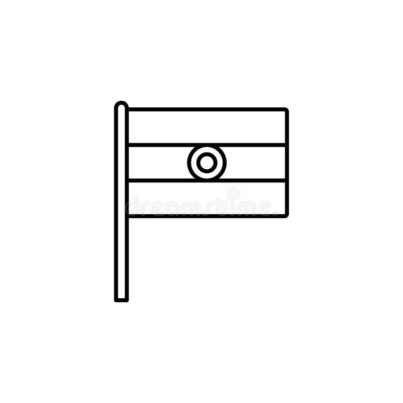 Het pictogram van India Element van vlagpictogram voor mobiel concept en Web apps Het dunne pictogram van lijnindia kan voor Web  vector illustratie