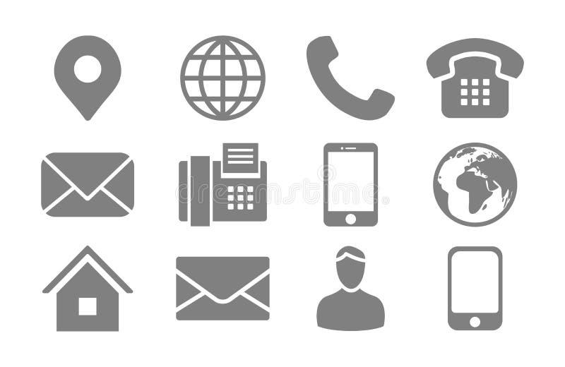 Het Pictogram van Info van het contact dat met de Pin van de Plaats, Telefoon, Fax, Cellphone, Persoon en E-mailPictogrammen word stock illustratie