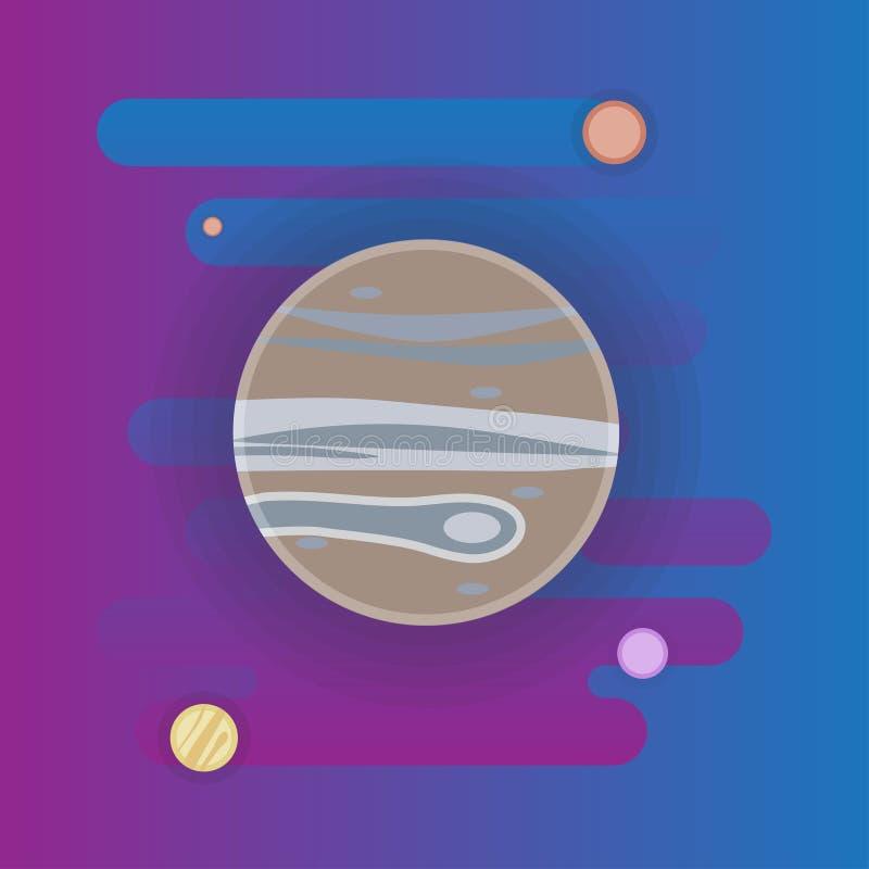 Het pictogram van Jupiter - vlakke illustratie, ruimteelementen vector illustratie