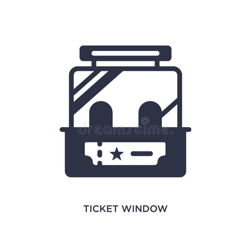 het pictogram van het kaartjesvenster op witte achtergrond Eenvoudige elementenillustratie van Bioskoopconcept royalty-vrije illustratie