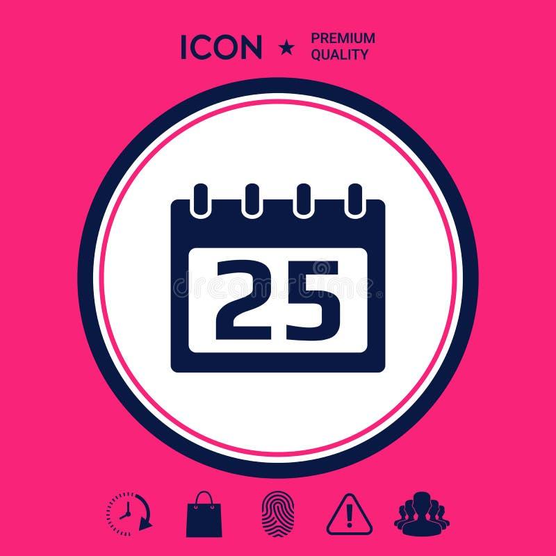 Het pictogram van het kalendersymbool royalty-vrije illustratie