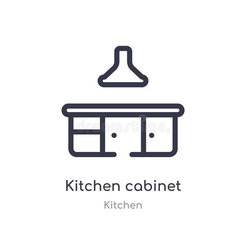 Het pictogram van het keukenkastoverzicht ge?soleerde lijn vectorillustratie van keukeninzameling het editable dunne pictogram va vector illustratie