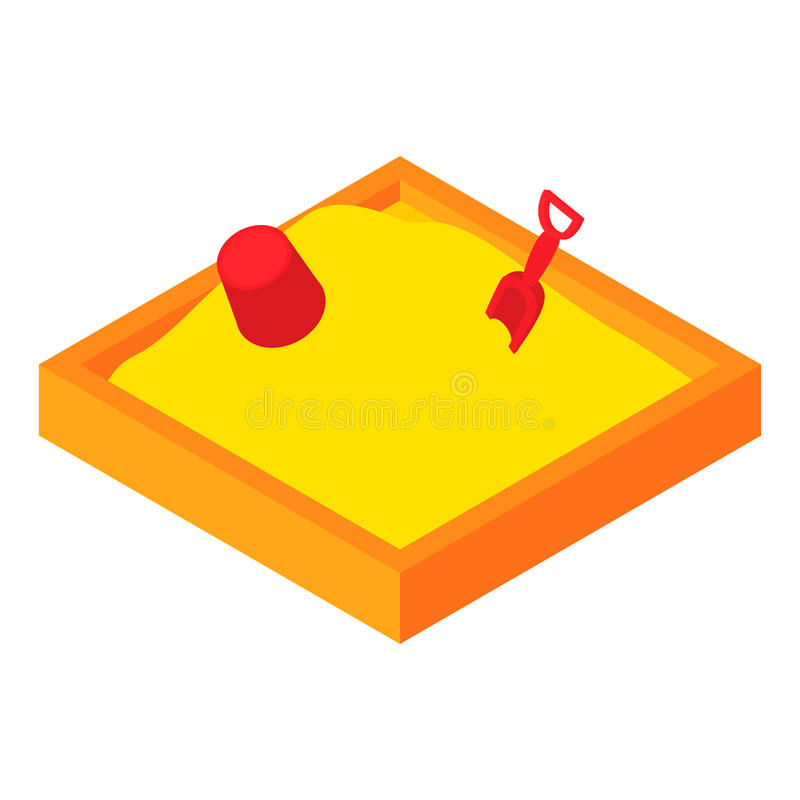 Het pictogram van kinderen sandpit, beeldverhaalstijl stock illustratie