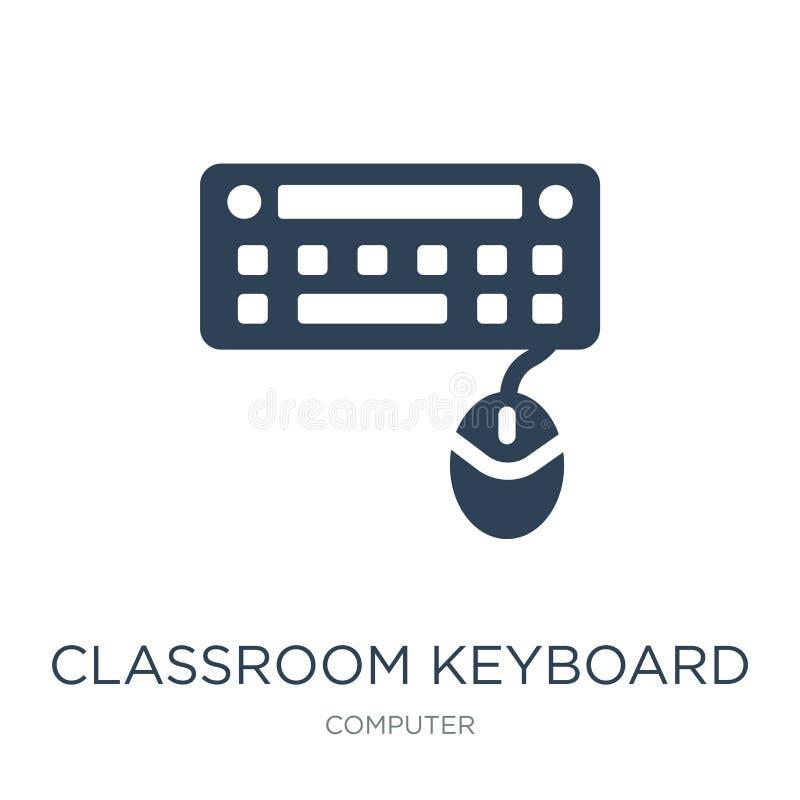 het pictogram van het klaslokaaltoetsenbord in in ontwerpstijl het pictogram van het klaslokaaltoetsenbord op witte achtergrond w vector illustratie