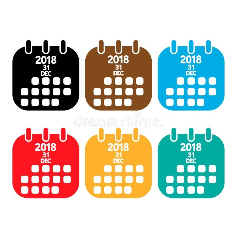 het pictogram van kleurenkalenders Nieuwe Year' s Dag op de kalender 2018 31 December, vector illustratie