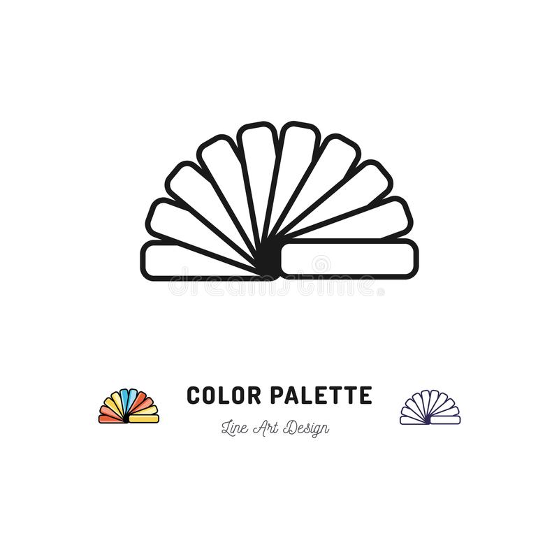 Het pictogram van het kleurenpalet, Pantone-kleuren De binnenlandse ontwerp en huissymbolen van het reparatieoverzicht Vector vla stock illustratie
