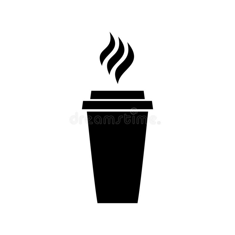 Het pictogram van koffiekoffie het drinken drinkt van de het menucappuccino van de restaurantlunch het zwarte embleem latte op wi royalty-vrije illustratie