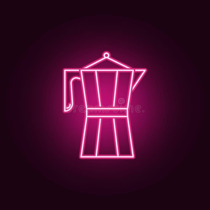 Het pictogram van het Koffiezetapparaatneon Elementen van Keukenreeks Eenvoudig pictogram voor websites, Webontwerp, mobiele toep vector illustratie