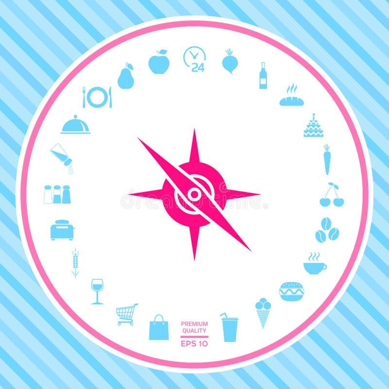 Het pictogram van het kompassymbool stock illustratie