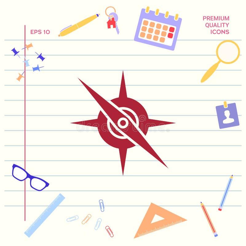 Het pictogram van het kompassymbool royalty-vrije illustratie