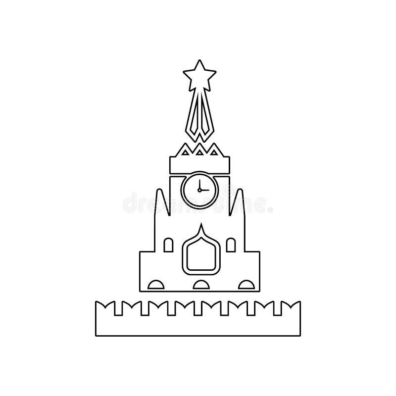 Het pictogram van het Kremlin Element van Rusland voor mobiel concept en webtoepassingenpictogram Overzicht, dun lijnpictogram vo royalty-vrije illustratie
