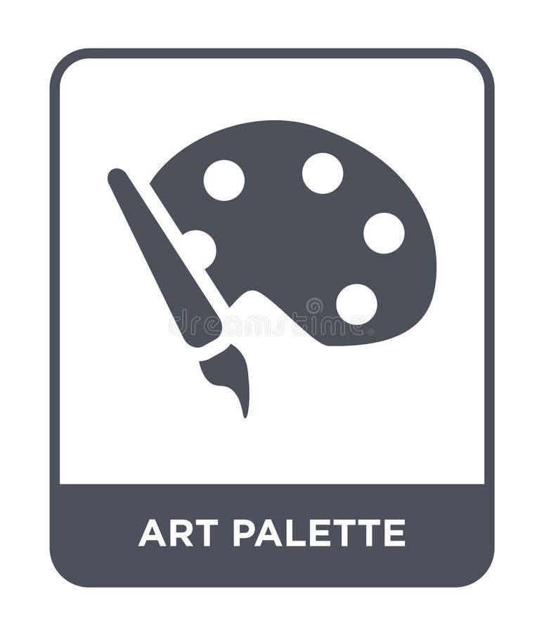 het pictogram van het kunstpalet in in ontwerpstijl het pictogram van het kunstpalet op witte achtergrond wordt geïsoleerd die he vector illustratie
