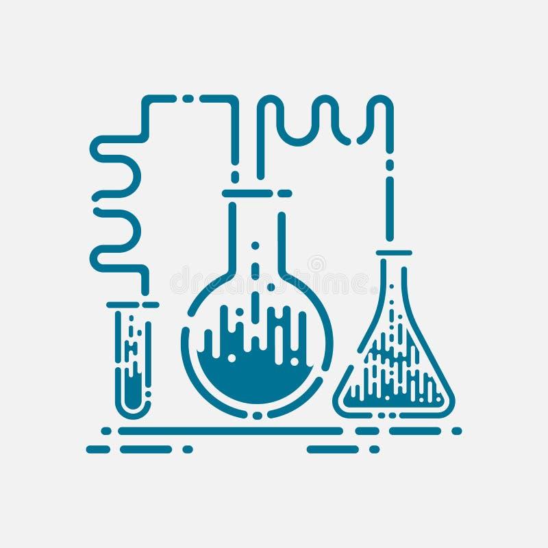 Het pictogram van laboratoriumbuizen - chemie en wetenschapssymbool - medische apparatuur - wetenschappelijk onderwijs royalty-vrije illustratie