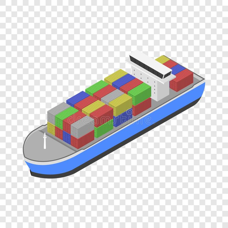 Het pictogram van het leveringsvrachtschip, isometrische stijl vector illustratie