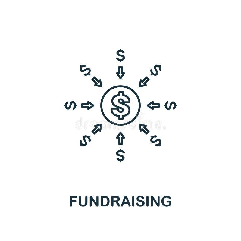 Het pictogram van het liefdadigheidsinstellingsoverzicht Dun lijnelement van het crowdfunding van pictogrammeninzameling UI en UX stock illustratie