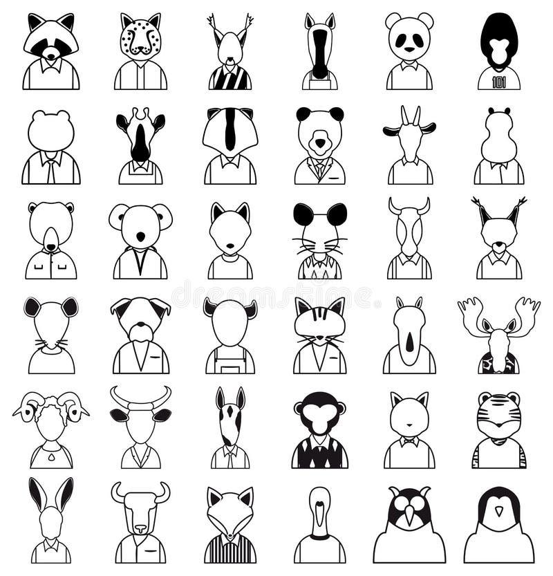 Het pictogram van lijndieren stock illustratie