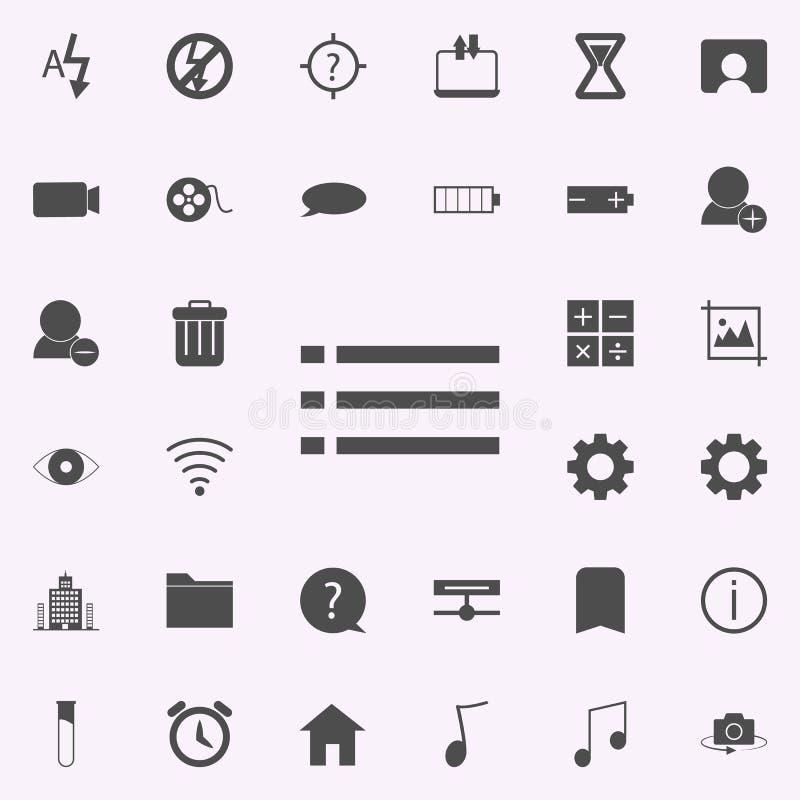 het pictogram van het lijstkarakter voor Web wordt geplaatst dat en het mobiele algemene begrip van Webpictogrammen vector illustratie