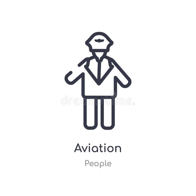 het pictogram van het luchtvaartoverzicht ge?soleerde lijn vectorillustratie van menseninzameling het editable dunne pictogram va royalty-vrije illustratie