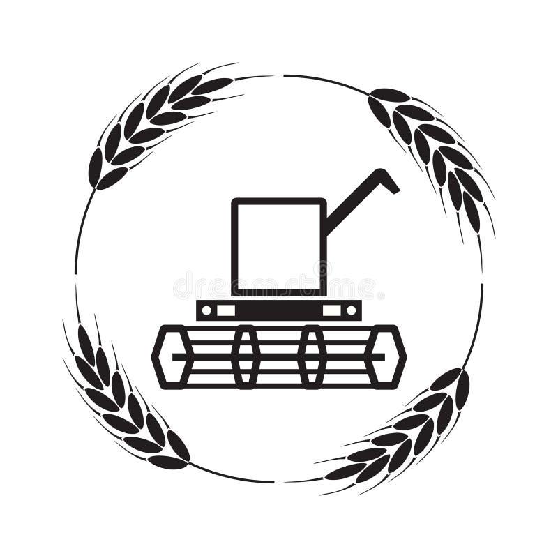 Het pictogram van maaidorser en tarweoren royalty-vrije illustratie