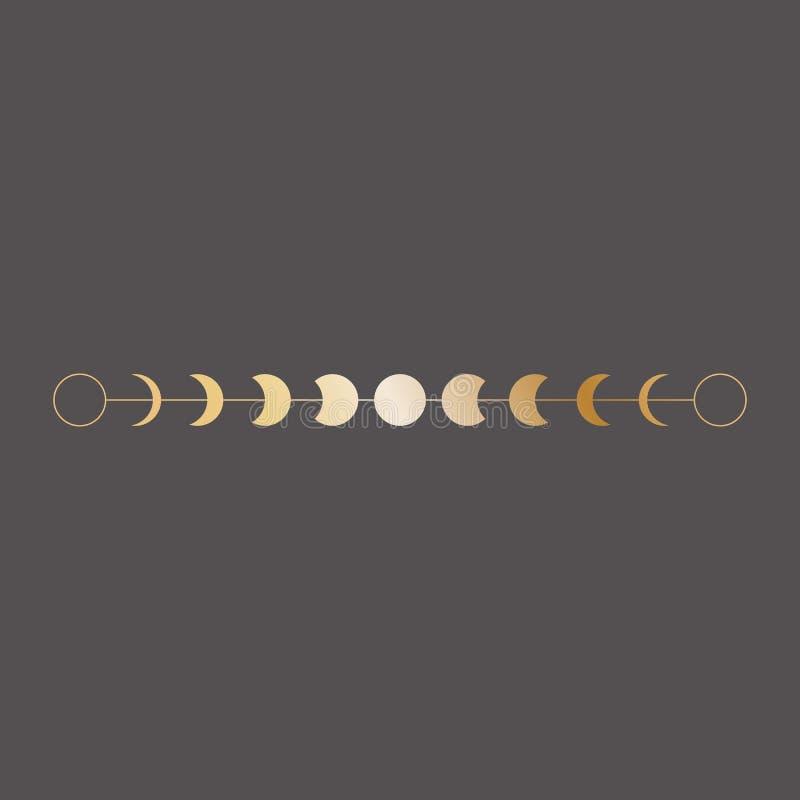 Het pictogram van maanfasen, grens, vectorillustratie in bohostijl Gouden op donkere achtergrond royalty-vrije illustratie