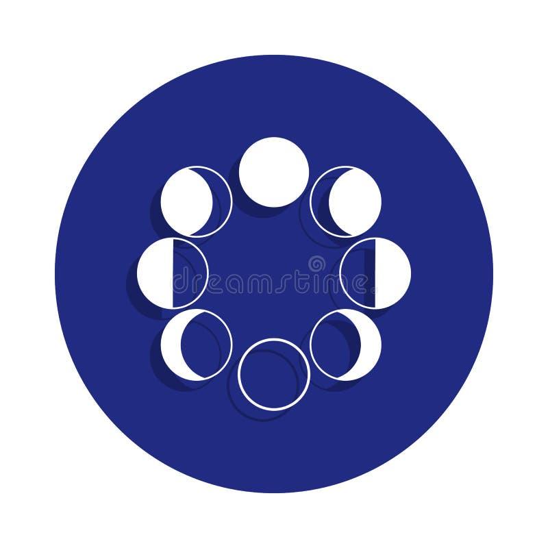Het pictogram van maanfasen in kentekenstijl Één van Ruimteinzamelingspictogram kan voor UI, UX worden gebruikt stock illustratie