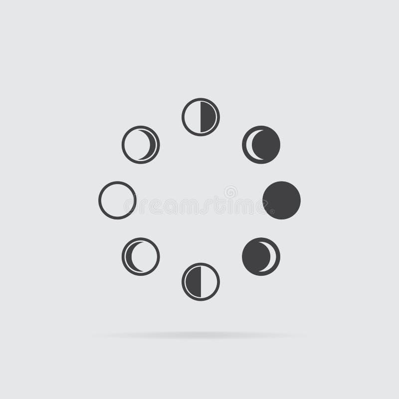 Het pictogram van maanfasen in vlakke die stijl op grijze achtergrond wordt geïsoleerd stock illustratie