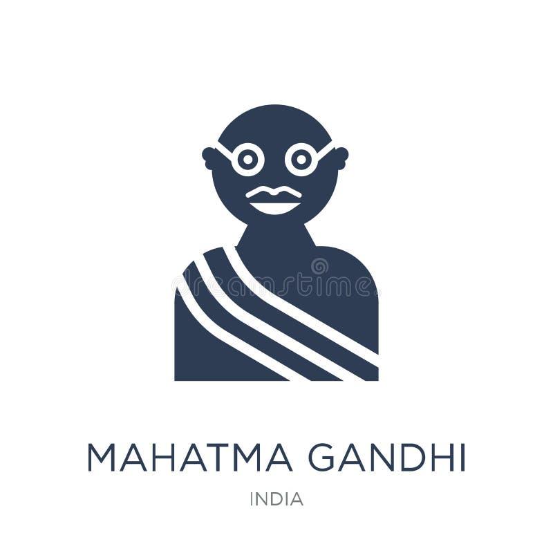 het pictogram van mahatmagandhi Het in vlakke vectorpictogram van mahatmagandhi op w vector illustratie