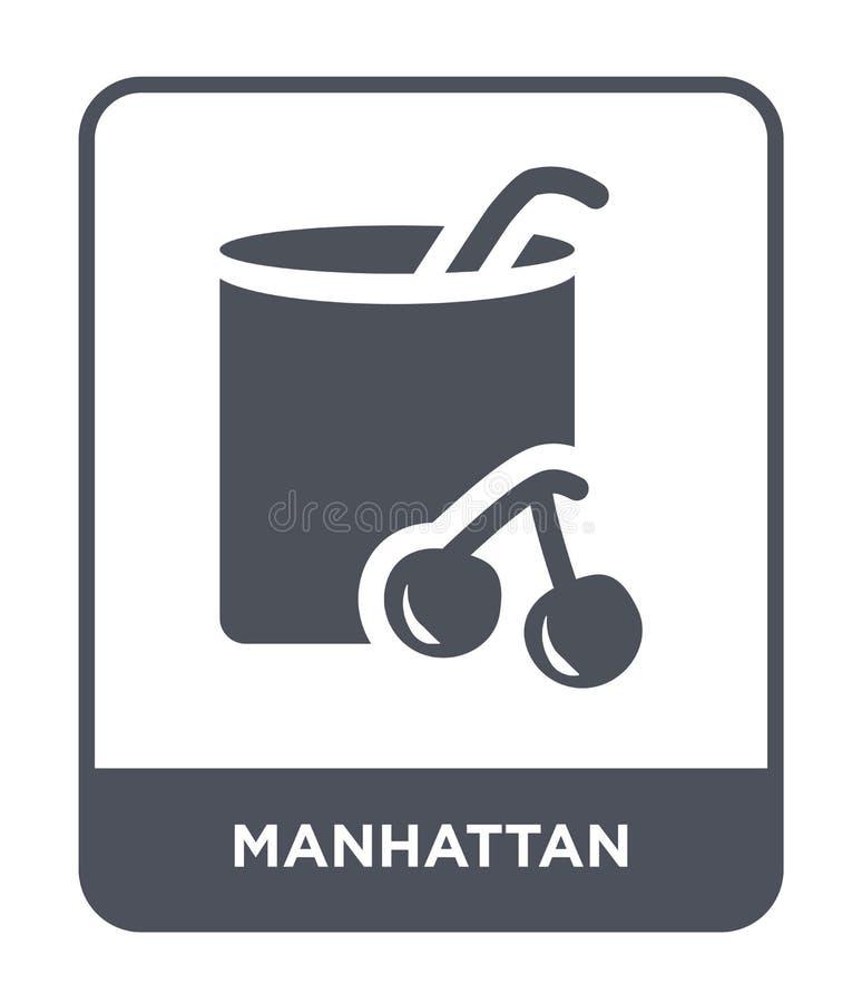 het pictogram van Manhattan in in ontwerpstijl het pictogram van Manhattan op witte achtergrond wordt geïsoleerd die vector het p vector illustratie