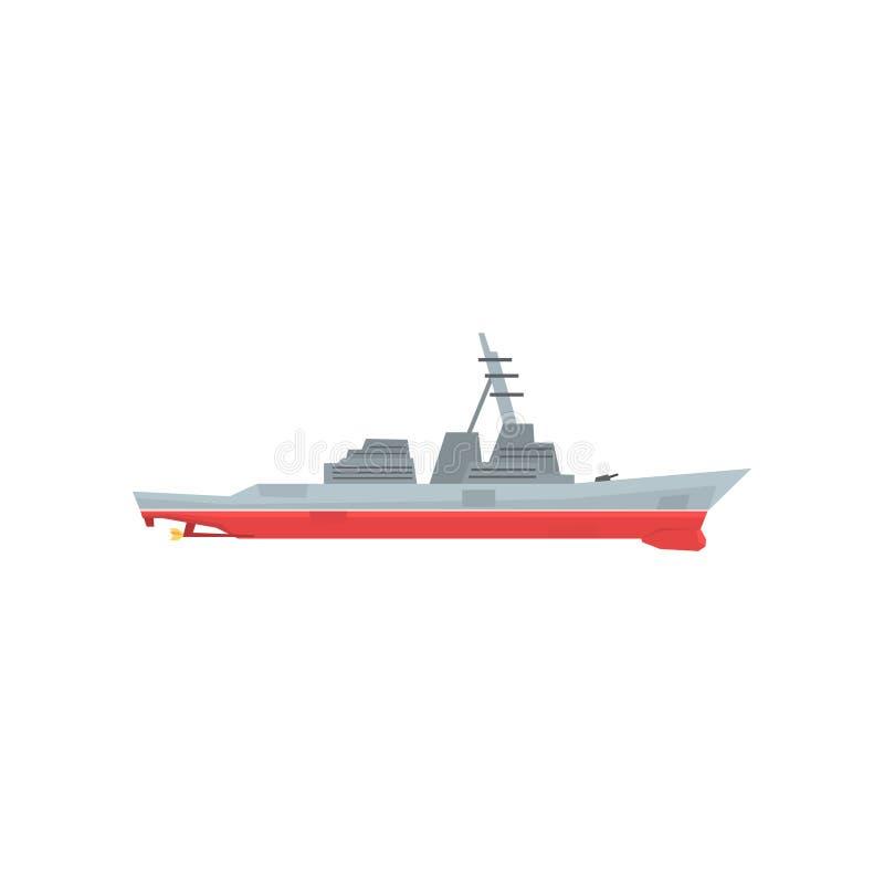 Het pictogram van het marineslagschip Militair schip met groot-kaliberartillerie Gekleurd marien voertuig Grafisch ontwerp voor s stock illustratie