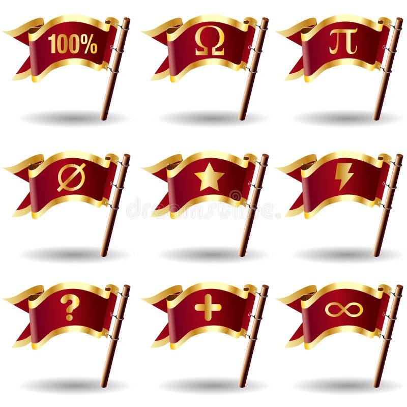 Het pictogram van Math dat op koninklijke vectorvlagknopen wordt geplaatst stock illustratie