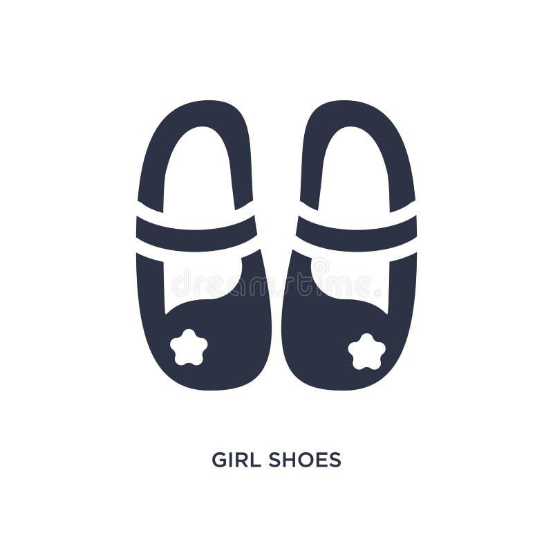 het pictogram van meisjesschoenen op witte achtergrond Eenvoudige elementenillustratie van Jong geitje en babyconcept royalty-vrije illustratie