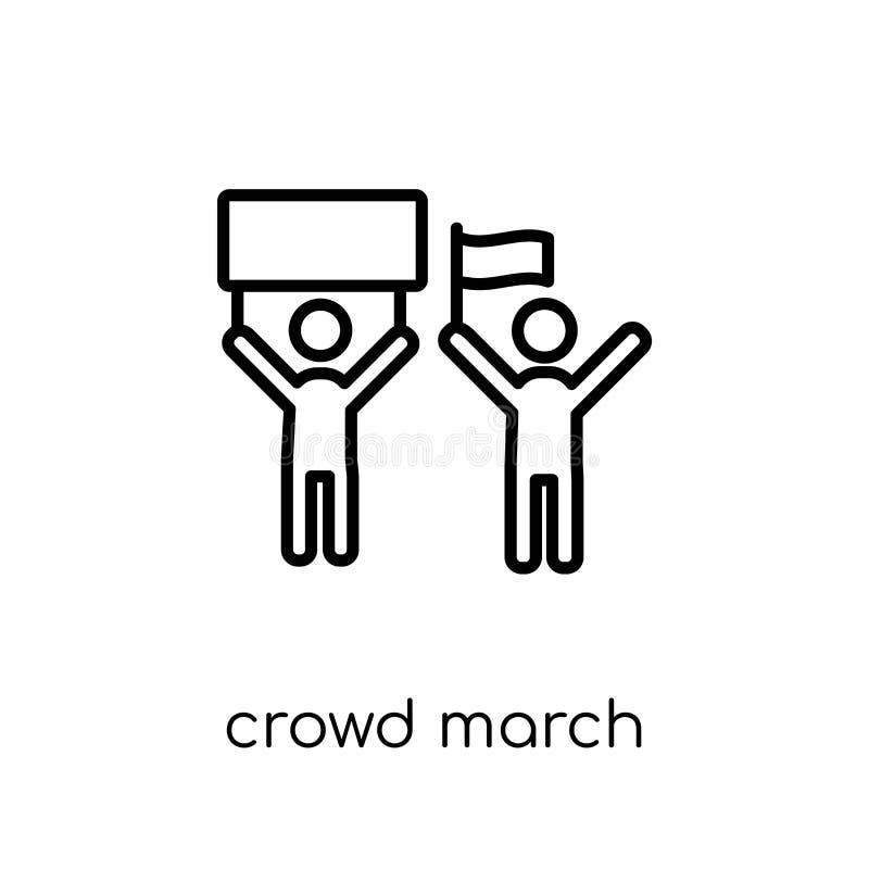 het pictogram van menigtemaart In moderne vlakke lineaire vectormenigte i Maart royalty-vrije illustratie