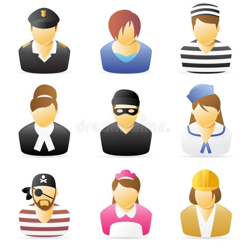Het Pictogram van mensen: De beroepen plaatsen 5 stock illustratie