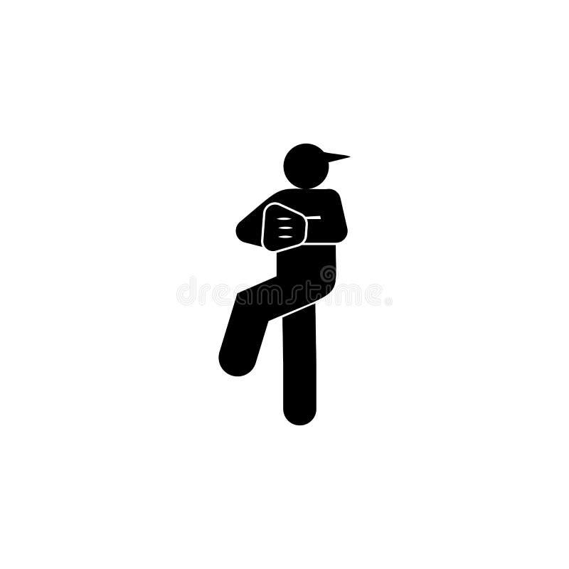 Het pictogram van het mensenhonkbal glyph r De tekens en de symbolen kunnen voor Web, embleem, mobiele toepassing, UI worden gebr stock illustratie