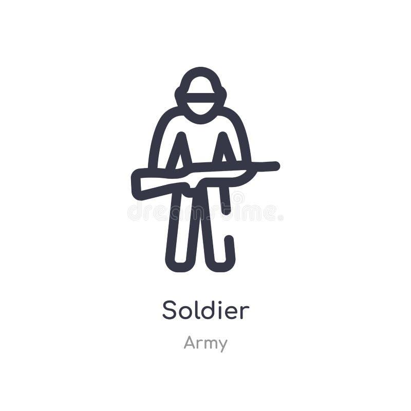 Het pictogram van het militairoverzicht ge?soleerde lijn vectorillustratie van legerinzameling E royalty-vrije illustratie