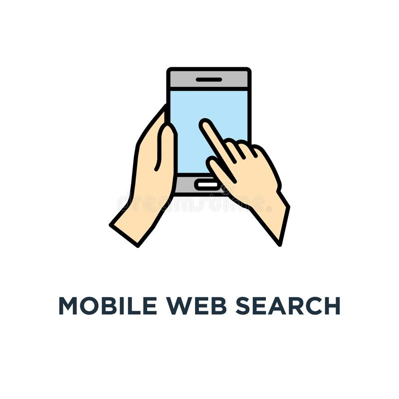 het pictogram van het mobiel webonderzoek ontwerp van het het conceptensymbool van de onderzoeksbar, Web die, onderzoek, mobiele  royalty-vrije illustratie