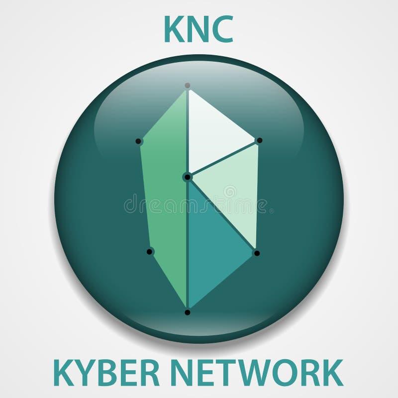 Het pictogram van het Muntstukcryptocurrency van het Kybernetwerk blockchain Virtueel elektronisch, Internet-geld of cryptocoin s royalty-vrije illustratie