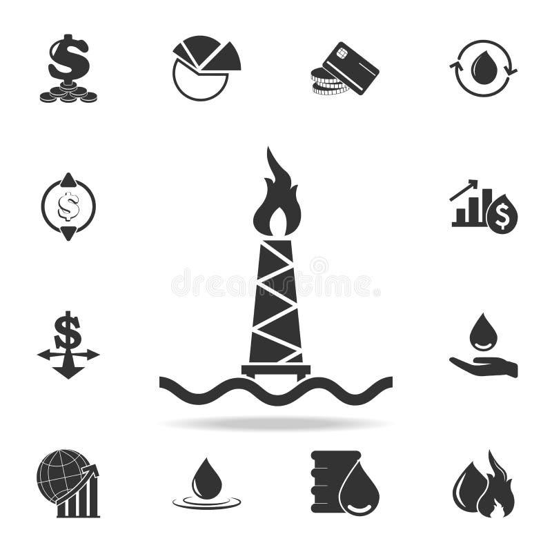 Het pictogram van het olieplatform Gedetailleerde reeks financiën, bankwezen en winstelementenpictogrammen Het grafische ontwerp  vector illustratie