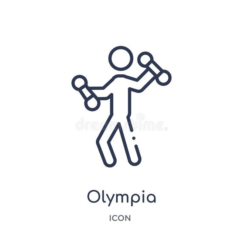 Het pictogram van Olympia van de olympische inzameling van het spelenoverzicht Het dunne die pictogram van lijnolympia op witte a vector illustratie