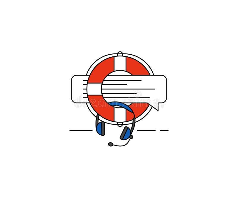 Het pictogram van het ondersteunende dienstconcept Het vectorontwerp van de call centrelijn royalty-vrije illustratie