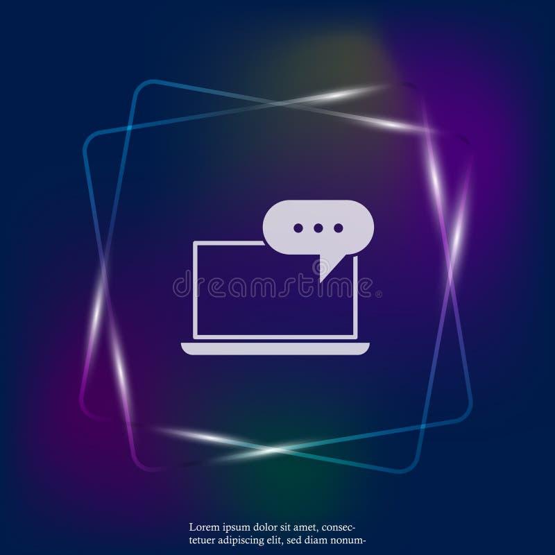 Het pictogram van het onlinetrainingneonlicht Verre Web opleiding Symbool van vector illustratie