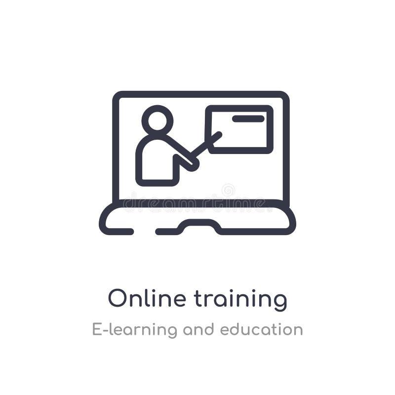 het pictogram van het onlinetrainingoverzicht ge?soleerde lijn vectorillustratie van e-leert en onderwijsinzameling editable dunn stock illustratie