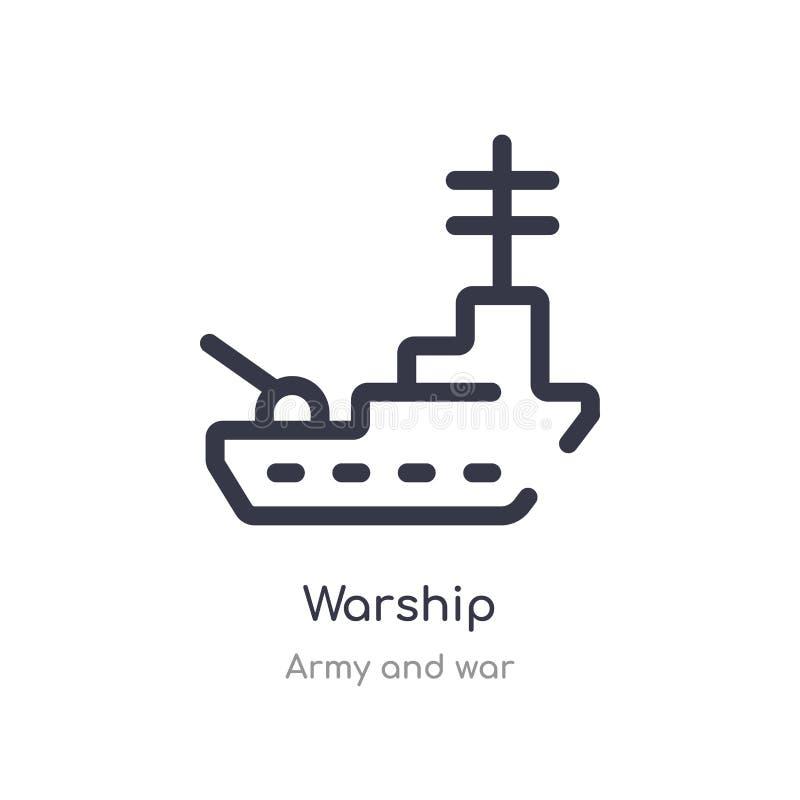 het pictogram van het oorlogsschipoverzicht ge?soleerde lijn vectorillustratie van leger en oorlogsinzameling het editable dunne  royalty-vrije illustratie